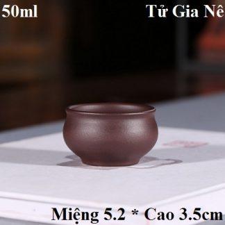 chén uống trà tử sa gốm tử gia nê nghi hưng thủ công dáng miệng loe dễ uống 50ml đẹp