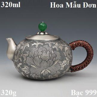 ấm bạc pha trà bằng bạc 999 thủ công hoa mẫu đơn dáng ấm thang bà tuyệt đẹp