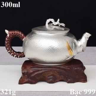 ấm trà bạc 999 dáng trúc đoạn thủ công đẹp pha trà ngon 300ml