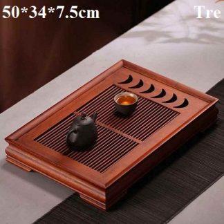 khay đựng ấm chén trà tre khe gác chén hình bán nguyệt bền đẹp
