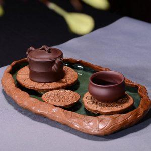 thuyền trà dưỡng ấm dáng 3 đài sen đẹp hứng được nước dùng như khay trà nhị ẩm
