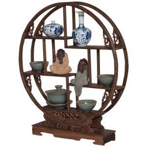kệ gỗ mini làm bằng gỗ cánh gà bền chắc dùng trưng bày ấm chén tượng bàn trà 60cm