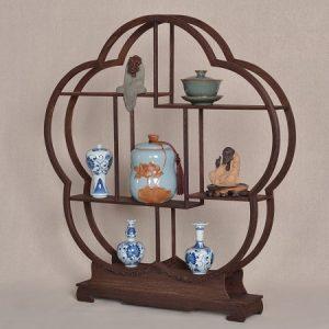 kệ gỗ trà bằng gỗ cánh gà bày ấm chén trà lục bình cỡ nhỏ bền đẹp dáng hoa 60cm
