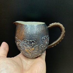 Chén tống bạc cao cấp nguyên chất 999 đắp nổi rồng thủ công làm chuyên trà đẹp 300ml.