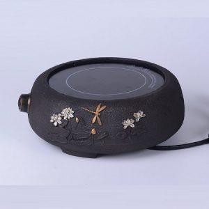 Bếp đun nước pha trà nấu bình tetsubin bằng gang dạng hồng ngoại hoạ tiết hoa