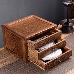 hộp đựng trà phổ nhĩ bằng gỗ mun dạng 3 ngăn kéo tiện lợi để bảo quản trà bánh loại 357g