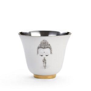 Chén trà tráng bạc cao cấp hoạ tiết vẽ tay hướng phật đẹp 60ml