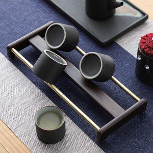 Khay úp cốc chén ly trà gỗ gụ thanh đồng đẹp cao cấp gác ly trà đẹp