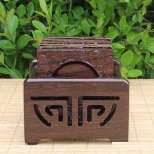 Bộ kê chén trà gỗ gụ hình vuông khắc phong vân lòng tròn đẹp dùng để kê ly tách lc17