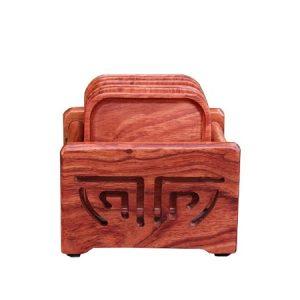 Bộ lót ly trà gỗ hương hình vuông đẹp dùng để kê tách chén có giá đựng