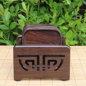 Bộ lót tách trà đẹp gỗ gụ hình vuông có giá chứa để kê ly trà đẹp