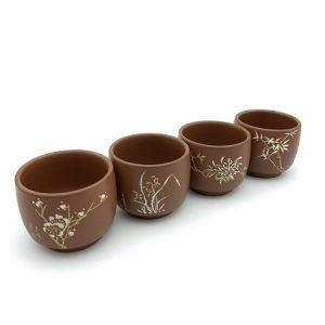 Bộ chén uống trà cao cấp mai lan cúc trúc gốm nê hưng dáng nhỏ thủ công đẹp 70ml