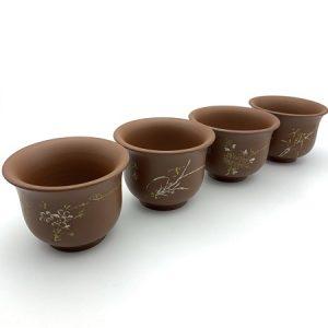 Bộ ly trà cao cấp mai lan cúc trúc cỡ to 100ml thành dày uống trà ngon