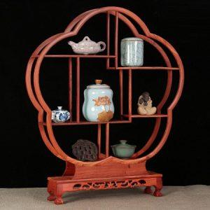 kệ gỗ hương bày ấm chén trà dáng bong hoa cao 68cm bền đẹp