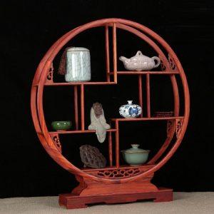 Kệ trung ấm trà gỗ hương dáng tròn cao 56cm rộng 50cm bày ly tách tượng bền đẹp