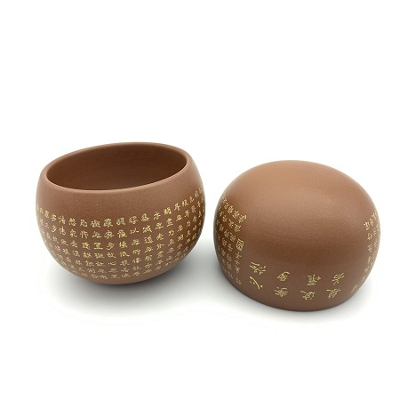 Ly uống trà cao cấp bát nhã kinh gốm nê hưng hoả biến thủ công dáng không đáy 60ml.
