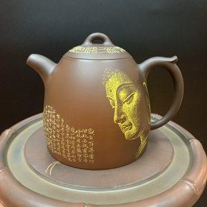 ấm pha trà hoả biến cao cấp dáng tần quyền hoạ mặt phật thủ công đẹp 350ml.