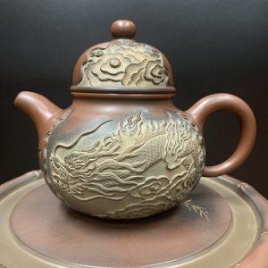 ấm trà cao cấp khắc rồng nổi gốm nê hưng hoả biến dáng chuyết cầu cực đẹp 350ml.