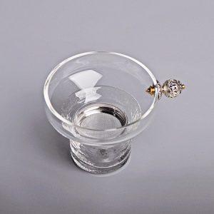 Lược trà thuỷ tinh cao cấp dùng để lọc trà màng lọc inox bền tay cầm núm bạc đẹp