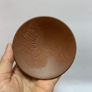 Ly trà cao cấp gốm nê hưng khắc sơn thuỷ cực đẹp thủ công dáng nón thấp 50ml