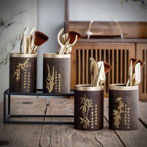 Bộ dụng cụ pha trà nhiều món mai lan cúc trúc đẹp xúc trà gắp ly đỡ tách.