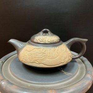 ấm tử sa hoả biến khắc rồng nổi cao cấp thủ công dáng bán nguyệt pha trà ngon 240ml
