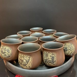 Bộ chén uống trà 12 con giáp cao cấp hoả biến thủ công cực đẹp uống trà ngon 150ml