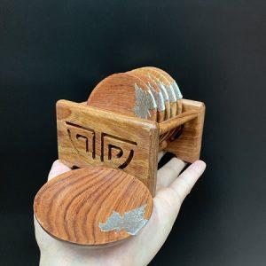 Bộ lót chén gỗ hương tròn đính lá bạc kê ly trà đẹp gồm 6 miếng và giá chứa