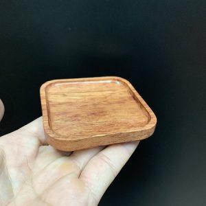 Đế kê chén trà gỗ hương dáng vuông dùng lót ly tách trà thủ công đẹp 7x7cm LC25