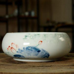 Thuyền trà sứ cảnh đức vẽ tay nhiều họa tiết dưỡng chén đẹp 17x8cm
