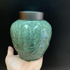 Lọ đựng trà sứ men ngọc cao cấp họa tiết rồng nắp xoáy 900ml kín tuyệt đối bảo quản trà.