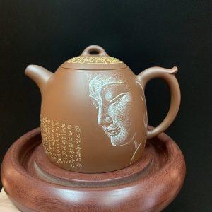 Ấm tử sa hỏa biến cao cấp họa mặt phật thủ công cực đẹp pha trà càng pha càng ngon