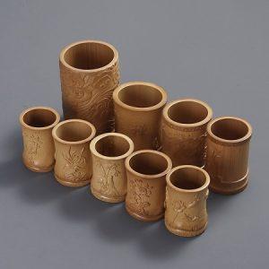 Lọ đựng bút và dụng cụ pha trà bằng ống tre tự nhiên họa tiết khắc thủ công đẹp