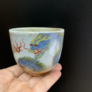 Ly uống trà cao cấp gốm thái hội vẽ rồng thủ công hỏa biến làm chén chủ đẹp 150ml