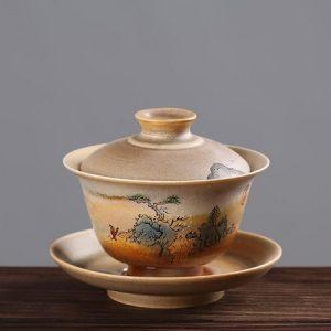 tiềm trà sứ cảnh đức vẽ tay sơn thủy thủ công 140ml pha trà ngon men lên đẹp
