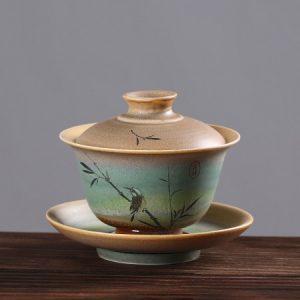 tiềm trà sứ men trộn tro gỗ vẽ chim thủ công đẹp dùng làm ấm pha trà tiện lợi 140ml