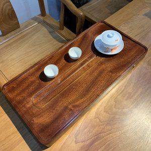 Khay trà gỗ nguyên khối đựng ấm chén đẹp dáng thon dài sang dễ bày 60x30cm KTG34
